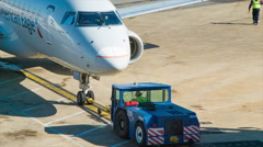 Jetway to Airliner Close-up Panning in Washington DC Stock Footage