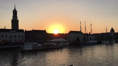 Sunset with the skyline from Kampen Stock Footage