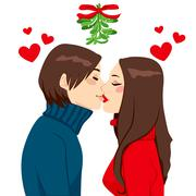 Christmas Mistletoe Kiss Stock Illustration