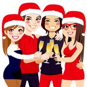 Christmas Party Friends Toast Stock Illustration