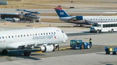 American Eagle Embraer 175 Airliner Closeup Platform Preparation Stock Footage