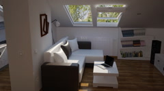 Sunny attic in the house with an interior Stock Footage