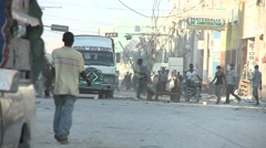 Chaos and damage on the streets of Port Au Prince Haiti following a massive Stock Footage