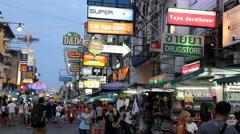 Khao San road shopping street in Bangkok, Thailand Stock Footage