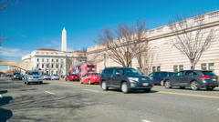Washington DC Independence Ave Traffic with Memorial Background Stock Footage