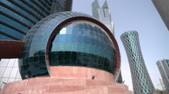 Sphere at the bottom of the Qatar world trade center Stock Footage