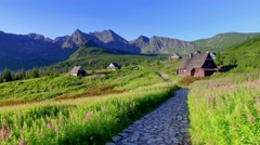 Little huts in the Tatra mountains in Poland Stock Footage