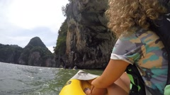 Woman Traveling in Boat Tour Looking at Cliff and Cave in Sea Stock Footage