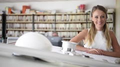 Portrait of young woman in engineering school Stock Footage