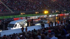 4k Drag Racing nightshot dragster presentation on race track quartermile Stock Footage
