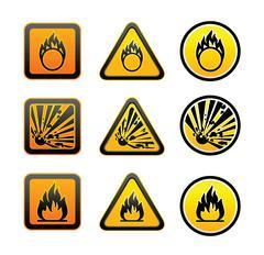 Hazard warning symbols set Stock Illustration