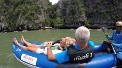 Middle-Aged Couple Relaxing in Kayak in Sea Enjoying Nature Stock Footage