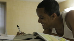 Black Male College Student Studying In Dorm Room Stock Footage
