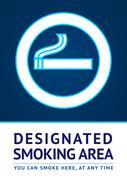 Label smoking area sticker Stock Illustration