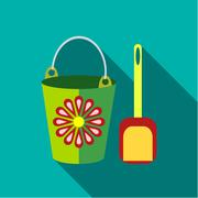 Children's toy pail with shovel in blue-green background Stock Illustration