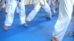4k Open Doors Karate Training For Children - working out of attack and defense Stock Footage
