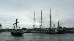 Russian ship Kruzenshtern during Hansesail in Warnemuende and Rostock harbor Stock Footage