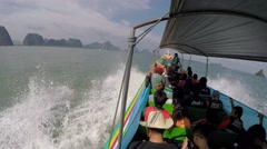 Tourists Sailing on Speed Boat in Sea to Tropical Island Stock Footage