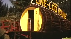 One log novelty house--From 1960's film Stock Footage