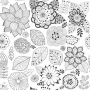 Vector flower pattern. Colorful seamless botanic texture, detailed flowers Stock Illustration