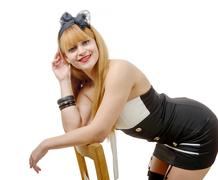 Beautiful girl in pin-up style with black stockings Stock Photos