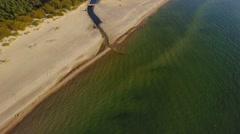 Aerial landscape, Baltic sea coast, sand beach in Palanga, Lithuania. Stock Footage