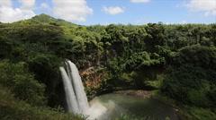 Wailua Falls Kauai wide slow motion Stock Footage