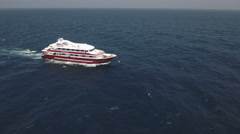 Aerial view of yacht or boat cruising at open sea Stock Footage