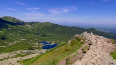 View from Karb to Kasprowy Wierch and Gasienicowa valley in summer, Tatras Stock Footage