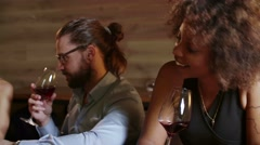 Close up Alone beautiful sexy young black woman drinking red wine in bar. She's Stock Footage