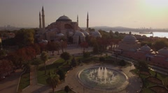 Aerial footage of Hagia Sophia in Istanbul city. Amazing shot. 4K Stock Footage