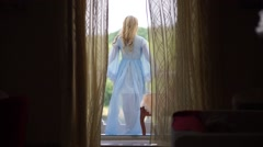 The bride in blue gown on the balcony of the Russian estate Stock Footage