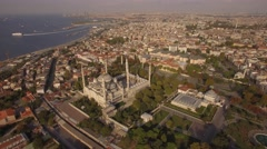 Aerial footage of Blue Mosque  in Istanbul city. Camera moves around. 4K Stock Footage