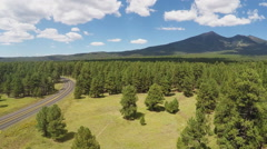 High Angle Coconino National Forest Highway 180 Humphreys Peak Stock Footage