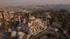 Aerial footage of Hagia Sophia in Istanbul city. flaying around. Amazing shot.4K Stock Footage