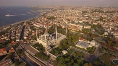 Aerial footage of Blue Mosque and Hagia Sophia in Istanbul city. Amazing view.4K Stock Footage