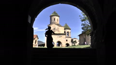 View of the Church through the dark archway Stock Footage