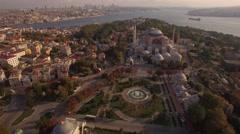 Aerial footage of Hagia Sophia in Istanbul city. Amazing shot. 4K Stock Footage