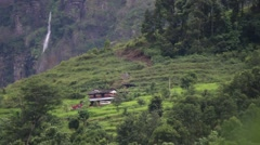 Terrace agriculture on hillsides near the Himalayas in Nepal Stock Footage