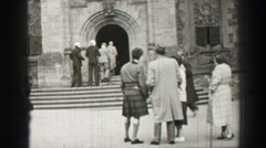1952: people walking in and out of building EDINBOURGH, SCOTLAND Stock Footage