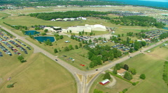 EAA Oshkosh Headquarters Building Aerial MWS Stock Footage