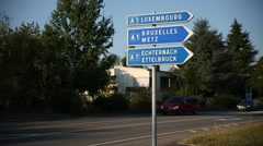 Signpost to Luxembourg City Stock Footage