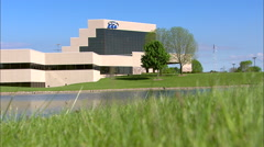 EAA Oshkosh Headquarters Building Low Angle Stock Footage
