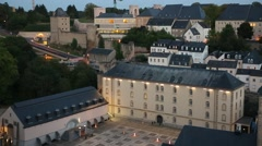 Luxembourg City: view from above Stock Footage