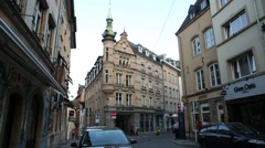 Luxembourg City centre crossroads Stock Footage