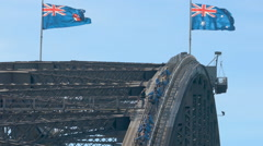 Tourists climbing up the Sydney Harbour Bridge Stock Footage