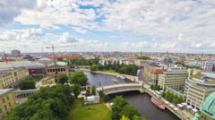 Aerial skyline view of Berlin city, Germany Stock Footage