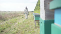 4K Bee keeper tending to his hives in the English countryside Stock Footage