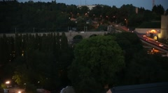 Luxembourg railway bridge at night Stock Footage