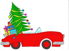 Red car with tree and Christmas gifts Stock Illustration